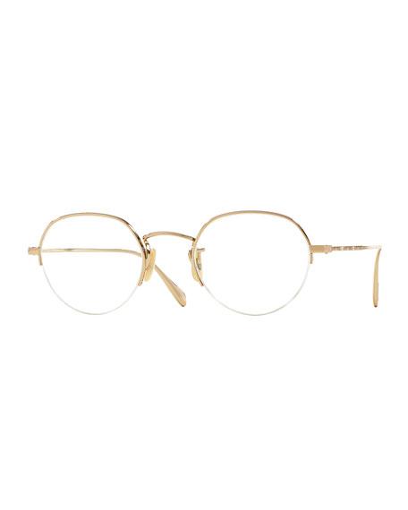 Oliver Peoples Roland 47 Round Fashion Glasses, Golden