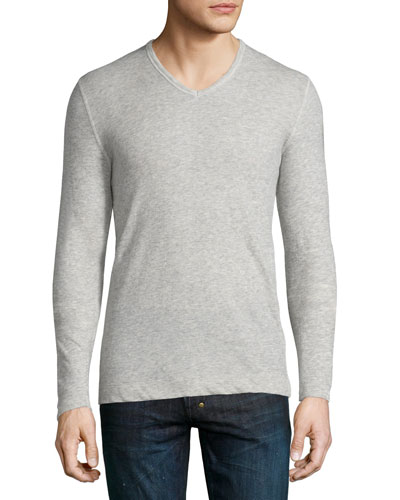 Cotton/Cashmere V-Neck Sweater, Gray