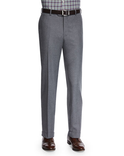 Flat-Front Flannel Trousers, Light Gray