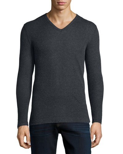 Cotton/Cashmere V-Neck Sweater, Charcoal