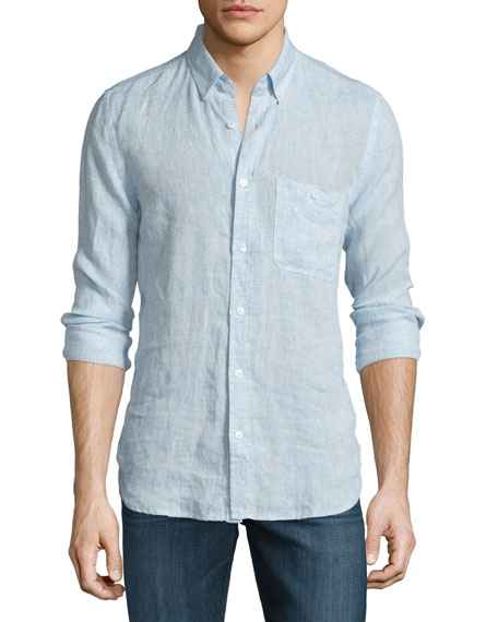 7 For All MankindLong-Sleeve Linen Shirt, Pale Blue
