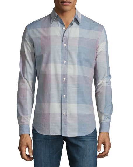 7 For All Mankind Large Plaid Long-Sleeve Sport