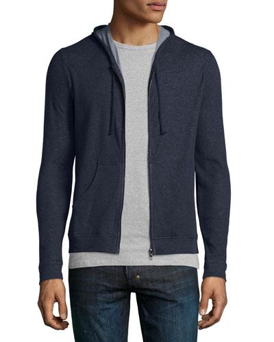 Cotton/Cashmere Zip-Up Hoodie, Navy