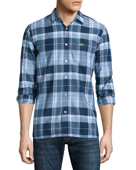 Lacoste Plaid Long-Sleeve Shirt, Philippines Blue