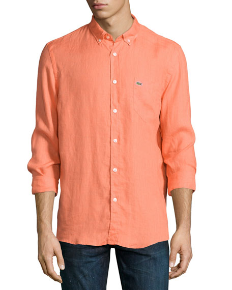 Lacoste Linen Long-Sleeve Shirt, Papaya Orange