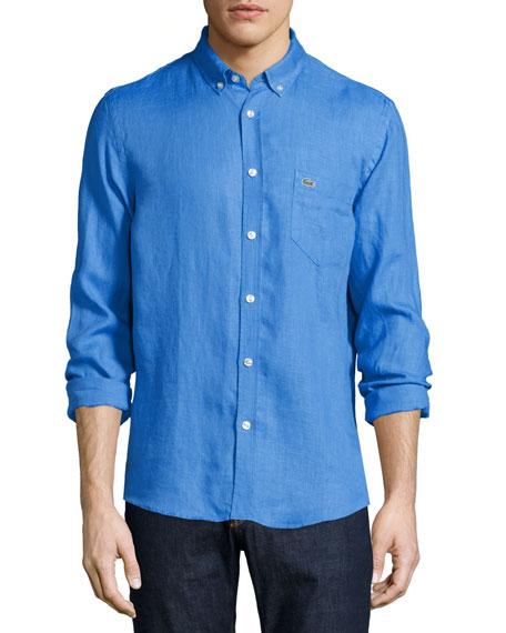 Lacoste Linen Long-Sleeve Shirt, Egyptian Blue