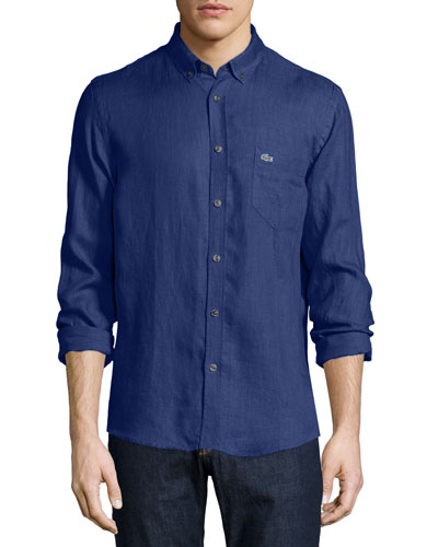 Solid Linen Long-Sleeve Shirt, Inkwell Blue