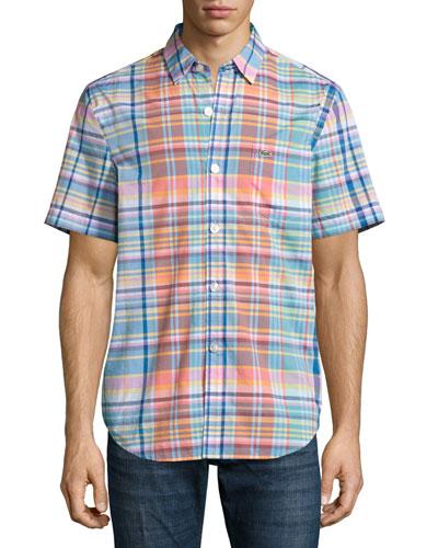 Plaid Short-Sleeve Shirt, Papaya/Multicolor