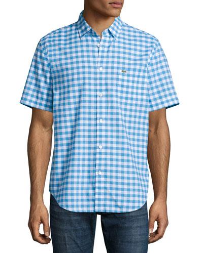 Gingham Short-Sleeve Shirt, Spa Blue/White