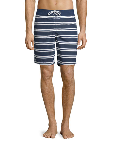 Striped Nylon Board Shorts, Navy Blue/White