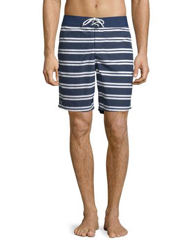 Striped Nylon Board Shorts, Navy Blue/White