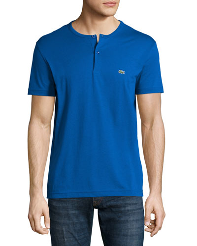 Short-Sleeve Henley Shirt, Delta Blue