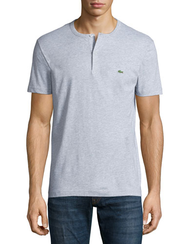Short-Sleeve Henley Shirt, Silver Gray Chine