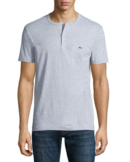 Lacoste Short-Sleeve Henley Shirt, Silver Gray Chine