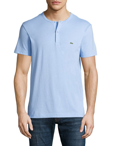 Short-Sleeve Henley Shirt, Nattier Blue