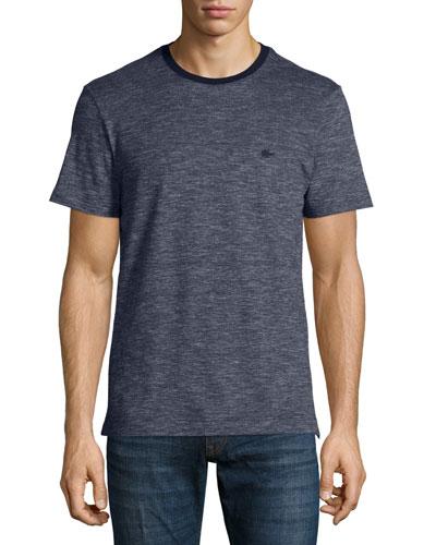 Heathered Short-Sleeve Pique T-Shirt, Navy Blue/Twilight