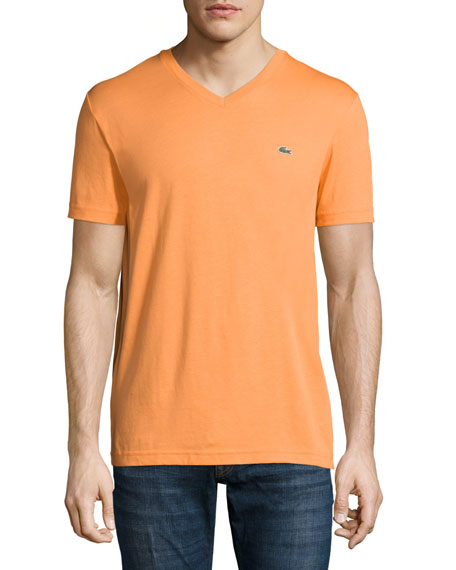 Lacoste Short-Sleeve V-Neck T-Shirt, Brugnon Orange