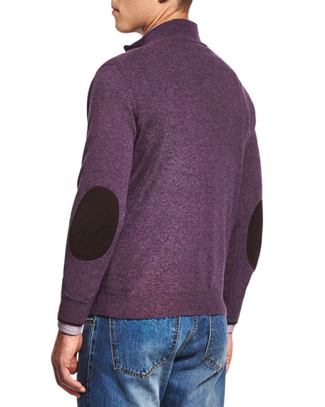 Half-Zip Cotton Pullover Sweater, Purple