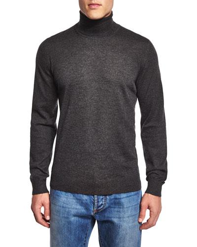 Turtleneck Long-Sleeve Sweater, Gray