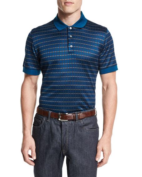 Brioni Check Short-Sleeve Polo Shirt, Gray
