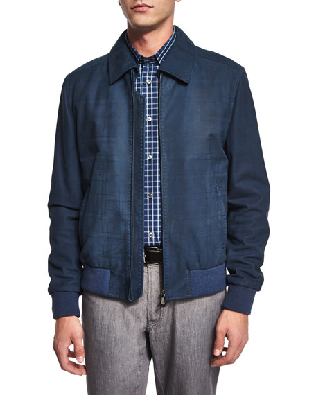 Brioni Tonal-Plaid Nubuck Bomber Jacket, Blue/Gray