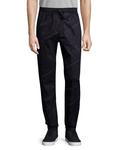 Elliot Printed Drawstring Pants, Black
