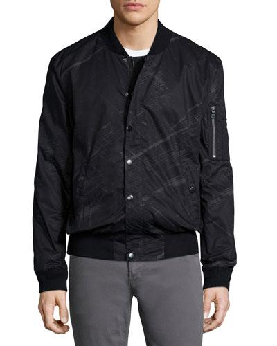 Solidaster Printed Bomber Jacket, Black