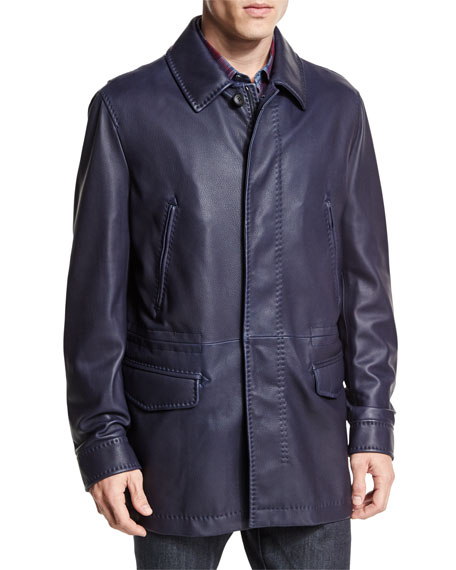 Brioni Leather Car Coat, Navy