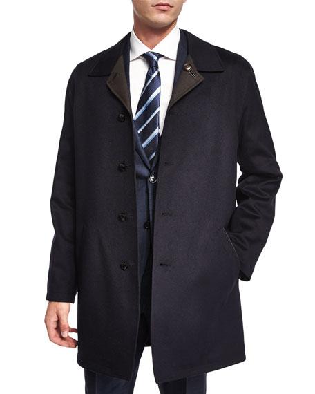 Ermenegildo Zegna Reversible Button-Down Car Coat, Navy/Brown
