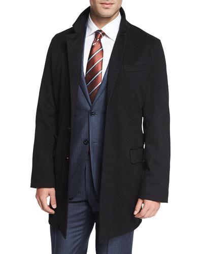Cashmere-Blend Long Car Coat, Black