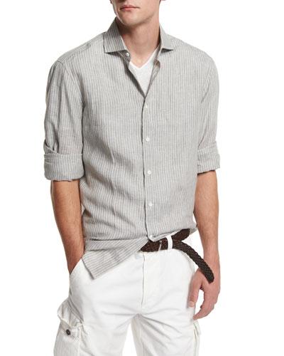 Striped Long-Sleeve Linen Shirt, Military Green