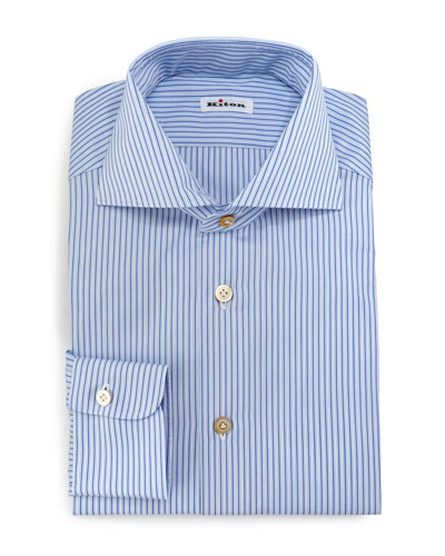 Alternating-Stripe Button-Down Sport Shirt, Blue/White