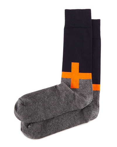 Plus Sign Knit Socks, Orange/Navy/Charcoal