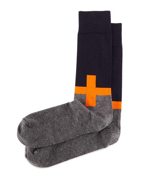 Plus Sign Knit Socks, Orange/Navy/Charcoal