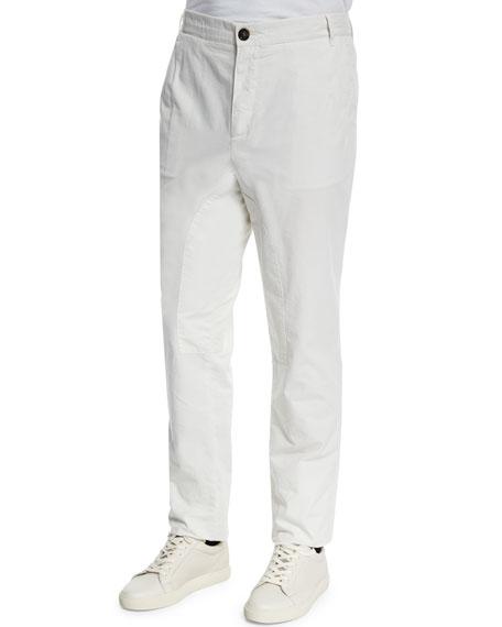 Brunello Cucinelli Cavallo Flat-Front Cotton Pants, Milk