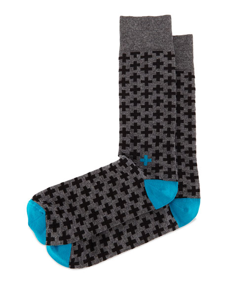 Jonathan Adler Cross-Print Knit Socks, Charcoal/Black