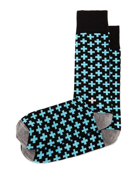 Cross-Print Knit Socks, Turquoise/Black