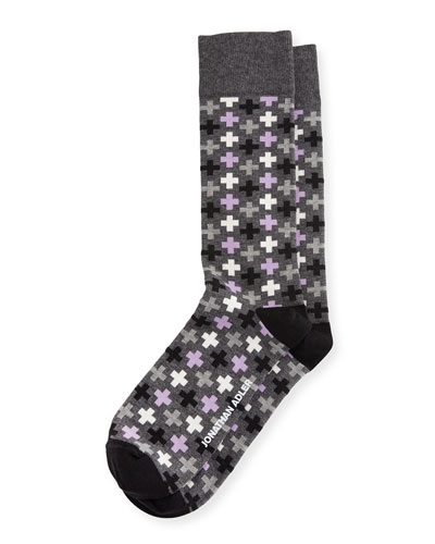 Multicolored Cross-Print Socks, Navy/Red/Multi