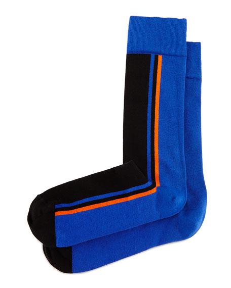 Side-Stripe Knit Socks, Royal/Black