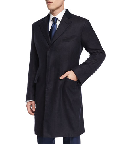 Tom Ford Special Edition Herringbone Cashmere Top Coat Navy