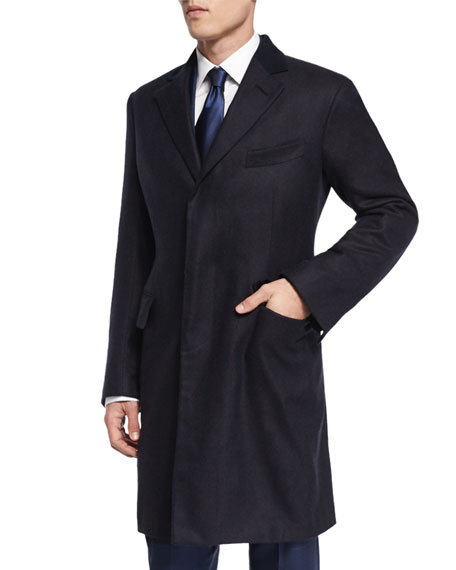Special Edition Herringbone Cashmere Top Coat, Navy