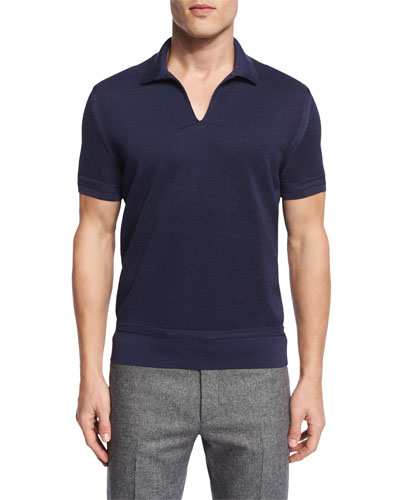 Textured Johnny Collar Short-Sleeve Shirt, Navy