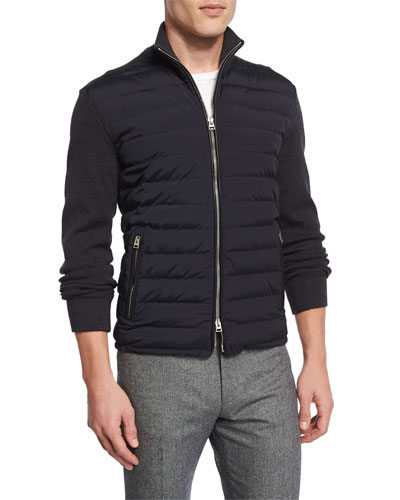 Zip-Front Puffer Jacket with Sweater Sleeves, Navy
