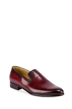 Berluti Leather Slip-On Dress Shoe, Red