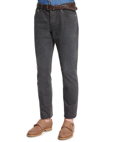 Brunello Cucinelli Five-Pocket Cotton Denim Pants, Lead