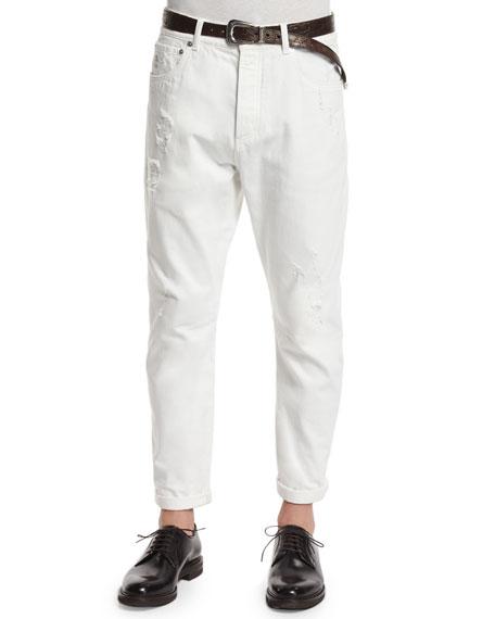 Brunello Cucinelli Five-Pocket Distressed Denim Jeans, Off White