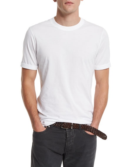 Brunello Cucinelli Crewneck Short-Sleeve T-Shirt, White