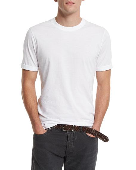 Brunello Cucinelli Crewneck Short-Sleeve T-Shirt, White
