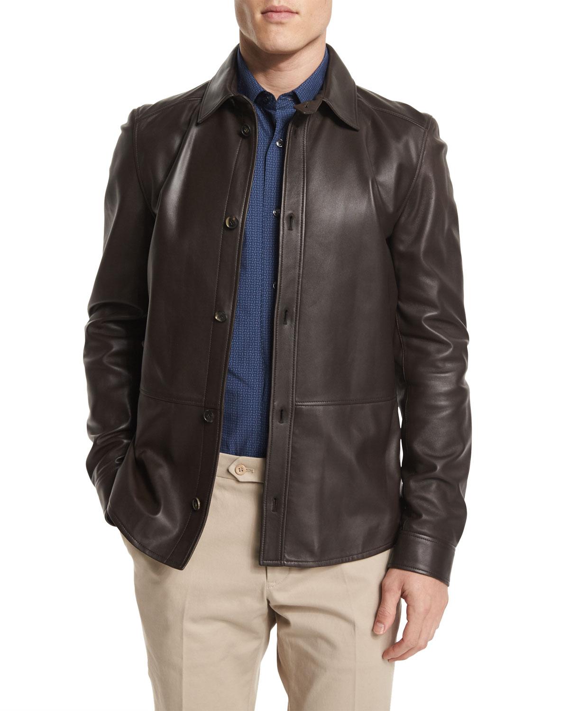 Salvatore Ferragamo Leather Button Down Shirt Jacket Brown Neiman