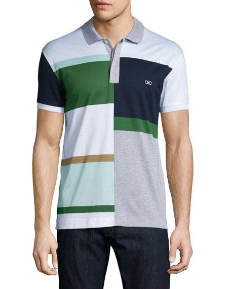 Salvatore Ferragamo Colorblock Short-Sleeve Polo Shirt, White